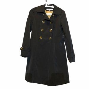 Kenneth Cole black trench coat gold buttons